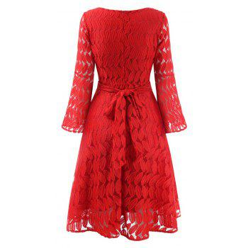 Women Spring Hollow Out V-Neck Lace Sexy Party Dresses - RED L
