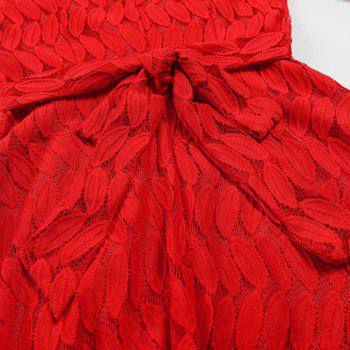 Women Spring Hollow Out V-Neck Lace Sexy Party Dresses - RED S