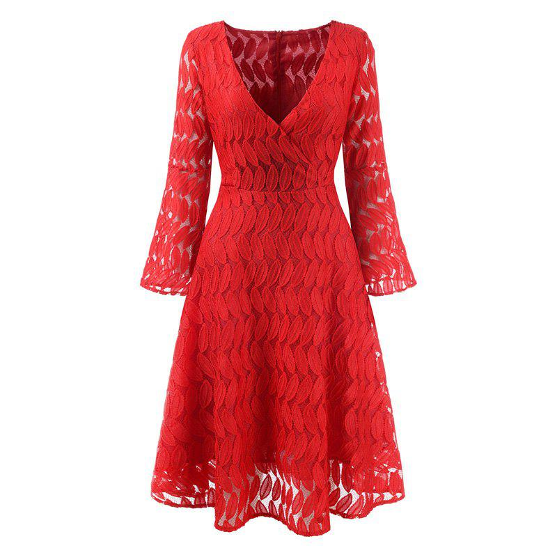 Women Spring Hollow Out V-Neck Lace Sexy Party Dresses - RED XL