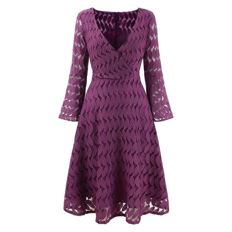 Women Spring Hollow Out V-Neck Lace Sexy Party Dresses - PURPLE XL