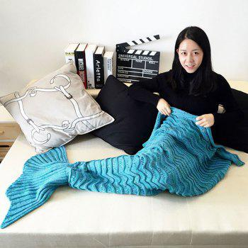 All Seasons Latest Warm Mermaid Blanket Tail Wave Striped Handmade Crocheted Blankets Super Soft Sleeping Bag - BLUE