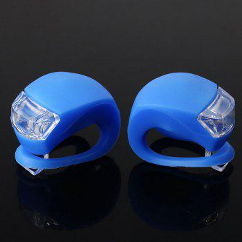 Bike Bicycle Cycling LED Front Silicone Battery Energy Rear Flash Warning Lamp GEL Light 2 PCS - BLUE