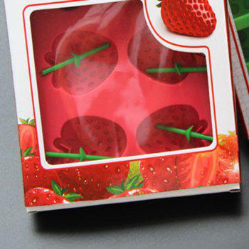 Silicone Strawberry Shape Mold For Ice Frozen Maker Jelly Pudding Craft Soaps Bar Party Drink Mould - RED