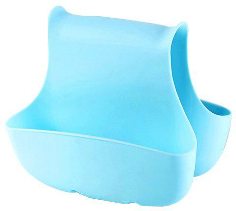 Creative Kitchen Sink Sponge Storage Bag Drain Saddle Dual Drain Basket Racks - BLUE