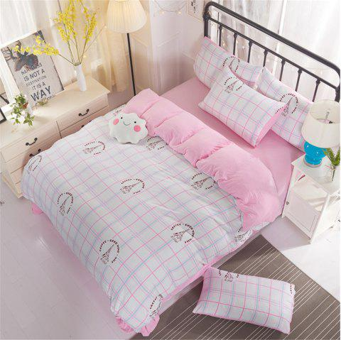 Washed Cotton Four-piece Bedding Set - PINK QUEEN