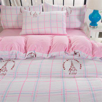 Washed Cotton Four-piece Bedding Set - PINK TWIN