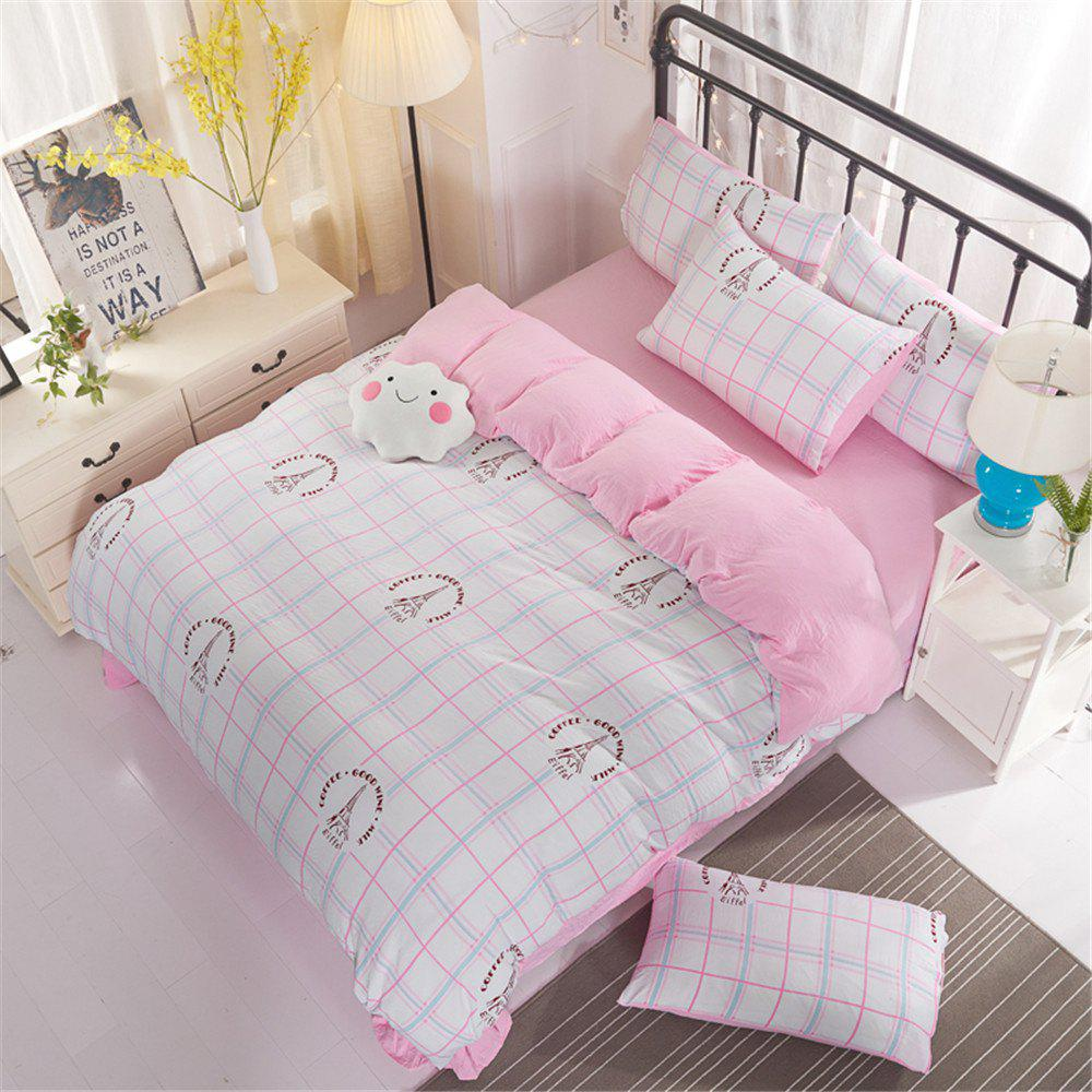Washed Cotton Four-piece Bedding Set - PINK FULL