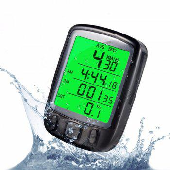 Bicycle LCD Computer Odometer With Backlight Monitor Speed Distance And Riding Time - BLACK