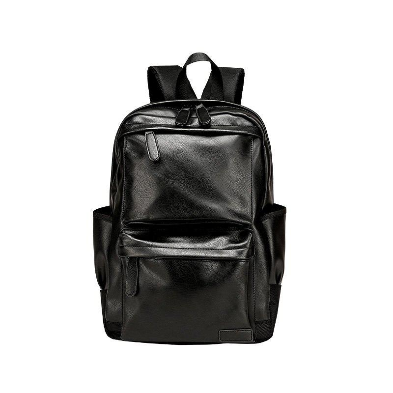 New Fashion Men's Computer Double Shoulder Knapsack - BLACK