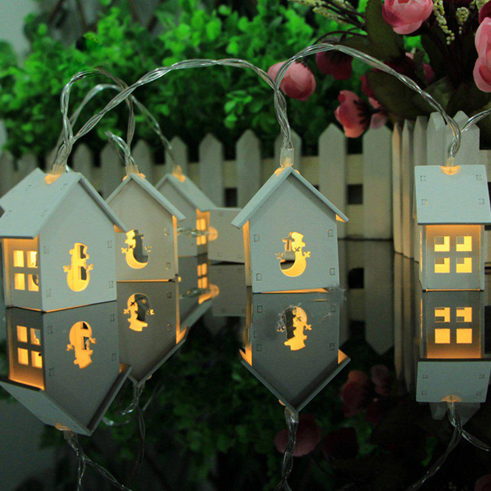 Snowman Wood Lamp String Lights Fairy LED Home Decor Light Battery Powered 1.65M 10 LED - WARM WHITE