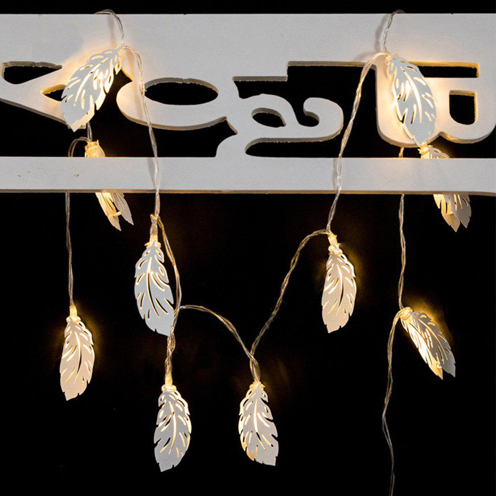 Iron White Feathers String Lights Fairy LED Home Decor Light Home Garden of Battery Powered 1.65M 10 LED - WARM WHITE