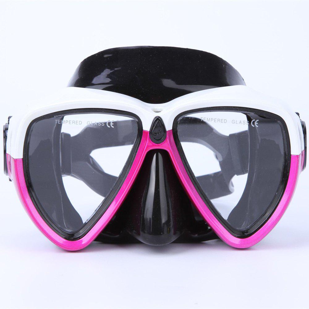 Face Plates Snorkeling Mask Anti-fogging Goggles 206 - ROSE RED