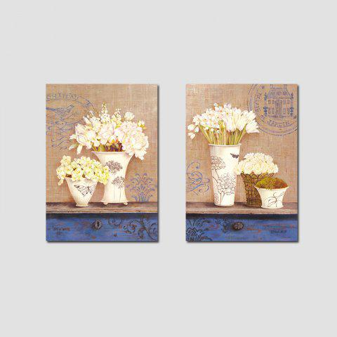 QiaoJiaHuaYuan No Frame Canvas Double Frame Painting Modern Simple Living  Room Bedroom Still Life Vase Decoration Hangi