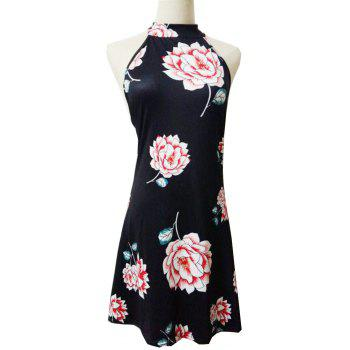 New Bow Tie 3D Floral Print Dress - BLACK L
