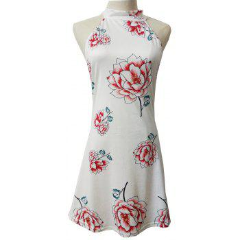 Nouveau Bow Tie 3D Floral Print Dress - Blanc XL