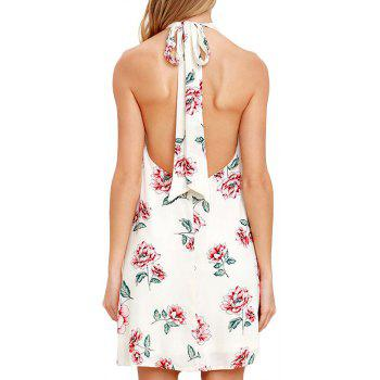 New Bow Tie 3D Floral Print Dress - WHITE L