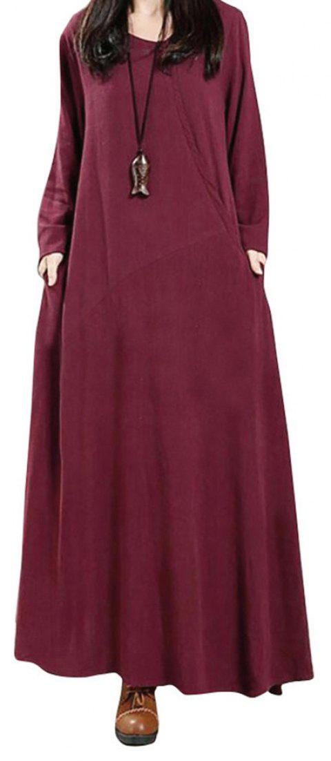 Women's National Solid Color Retro Long Sleeve Dress - WINE RED L