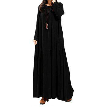 Women's National Solid Color Retro Long Sleeve Dress - BLACK S