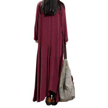 Women's National Solid Color Retro Long Sleeve Dress - WINE RED M