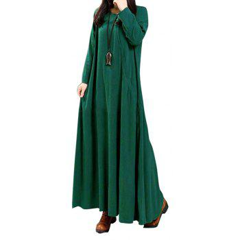 Women's National Solid Color Retro Long Sleeve Dress - DARK GREEN S