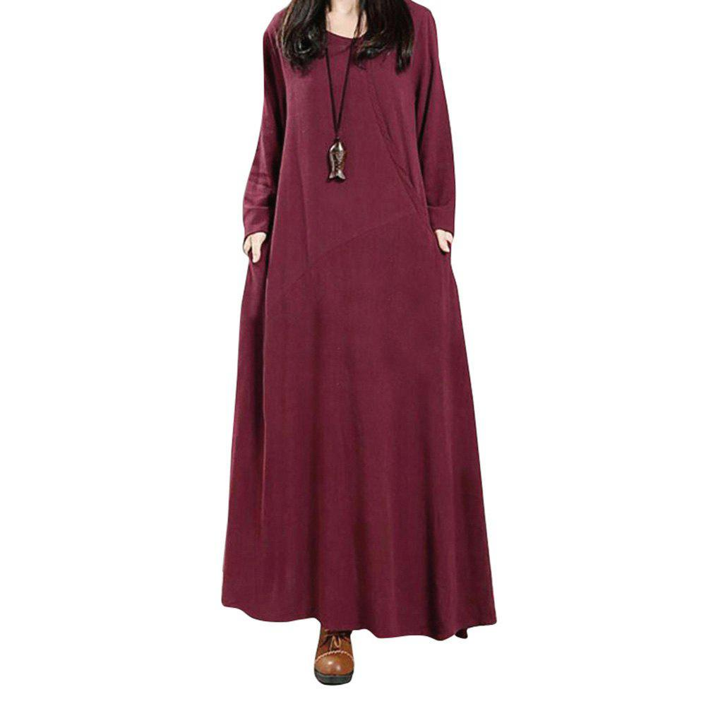 Women's National Solid Color Retro Long Sleeve Dress - WINE RED S