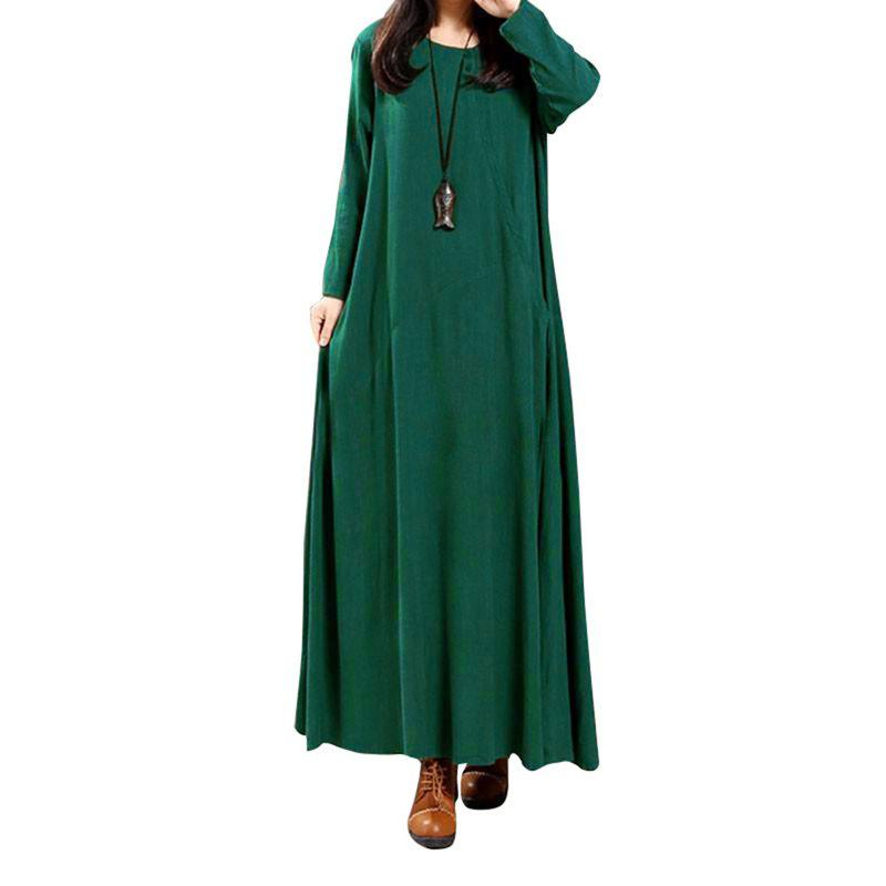 Women's National Solid Color Retro Long Sleeve Dress - DARK GREEN XL