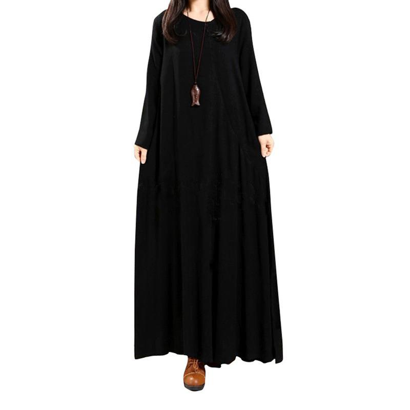 Women's National Solid Color Retro Long Sleeve Dress - BLACK XL
