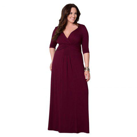 Women's Milk Silk Large Dress - WINE RED 2XL