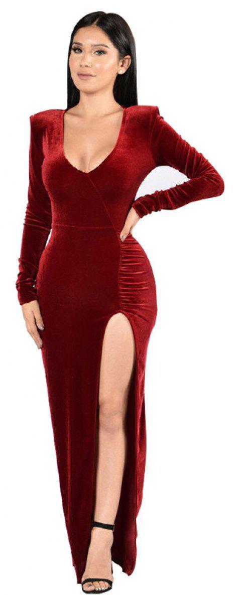 Women's Round Neck Sexy Long Sleeve Golden Velvet Party Evening Dress - WINE RED XL