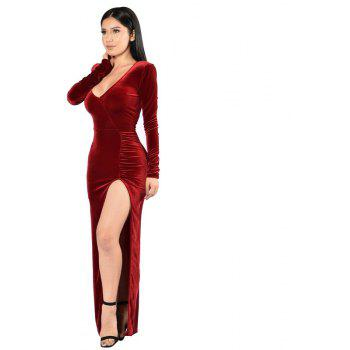 Women's Round Neck Sexy Long Sleeve Golden Velvet Party Evening Dress - WINE RED 2XL