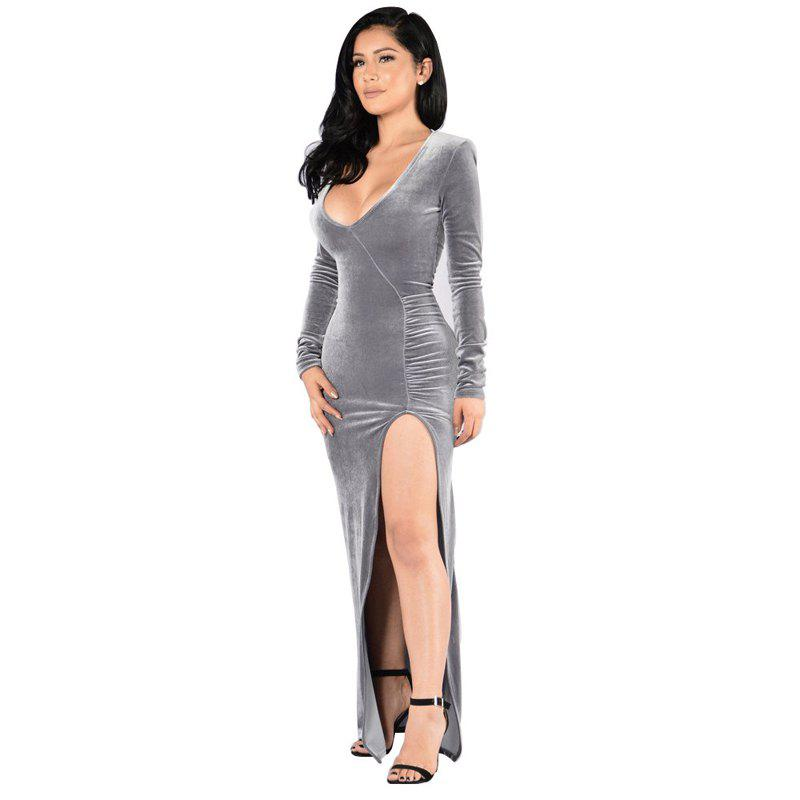 Women's Round Neck Sexy Long Sleeve Golden Velvet Party Evening Dress - SILVER M