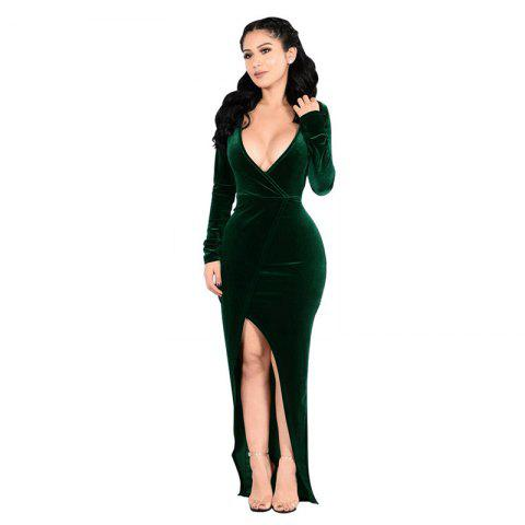 Women's V-Neck Sexy Long Sleeve Golden Velvet Party Evening Dress - GREEN 2XL