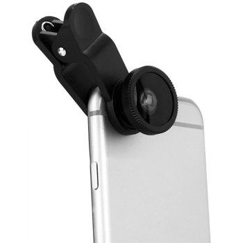 Minismile 3-in-1 Fish Eye and Wide Angle and Macro Phone Camera Lens for iPhone / Samsung / Xiaomi / HUAWEI - BLACK