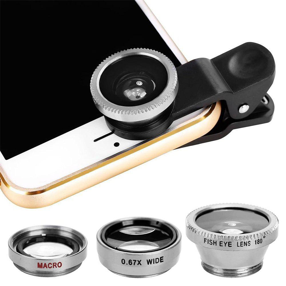 Minismile 3-in-1 Fish Eye and Wide Angle and Macro Phone Camera Lens for iPhone / Samsung / Xiaomi / HUAWEI - SILVER