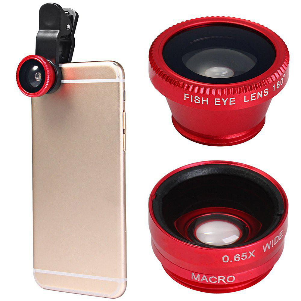 Minismile 3-in-1 Fish Eye and Wide Angle and Macro Phone Camera Lens for iPhone / Samsung / Xiaomi / HUAWEI - RED