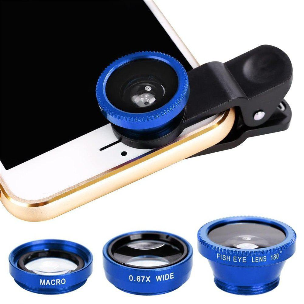 Minismile 3-in-1 Fish Eye and Wide Angle and Macro Phone Camera Lens for iPhone / Samsung / Xiaomi / HUAWEI - BLUE