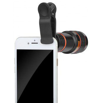 Minismile Multi-coating Glass Universal 8X Zoom Telephoto Camera Lens Shutterbug Necessary with Clip for Samsung /Huawei - BLACK
