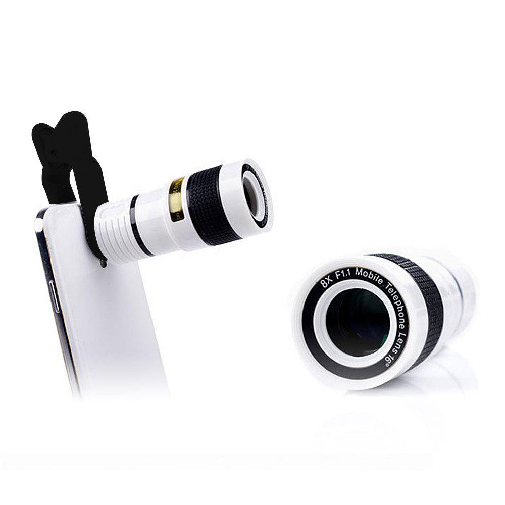 Minismile Multi-coating Glass Universal 8X Zoom Telephoto Camera Lens Shutterbug Necessary with Clip for Samsung /Huawei - WHITE