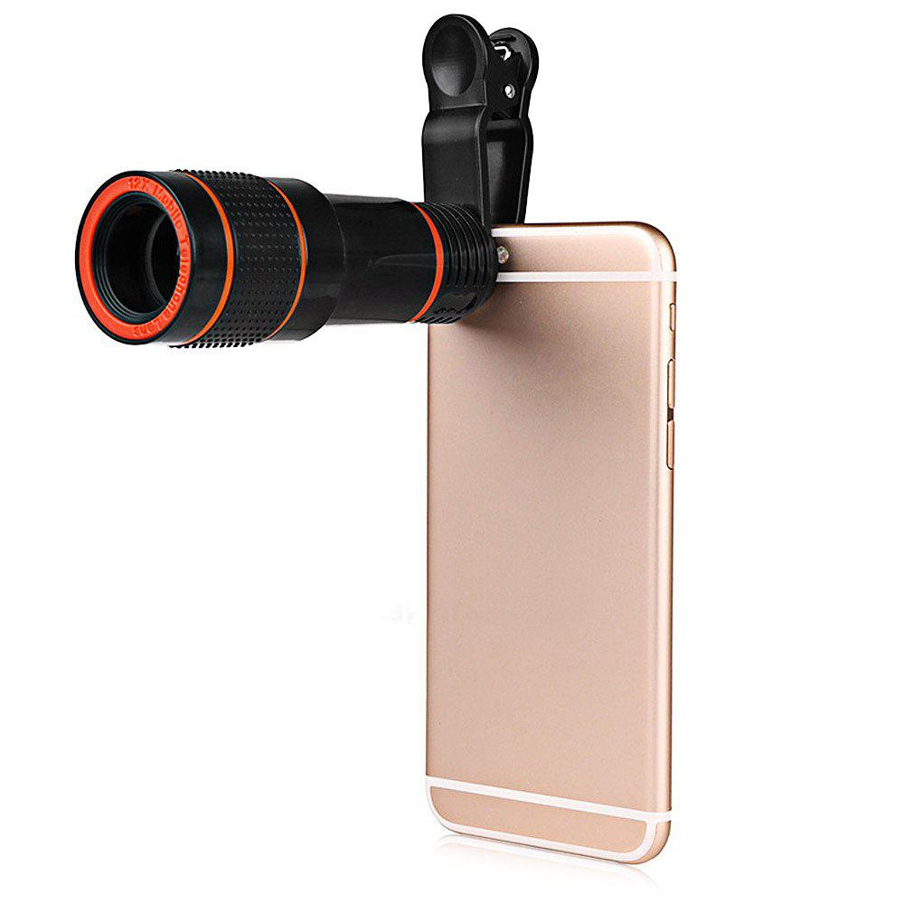 Minismile Multi-coating Glass Universal 12X Zoom Telephoto Camera Lens Shutterbug Necessary with Clip for Samsung/Huawei - BLACK