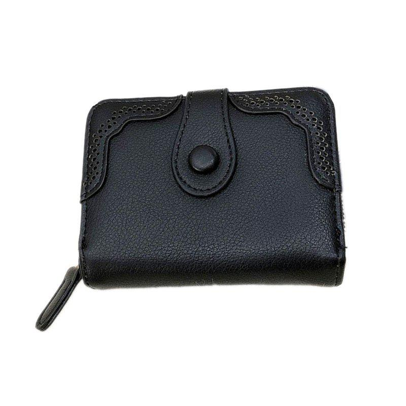 Hollowed Ladies Purse Multi-functional Wallet - BLACK