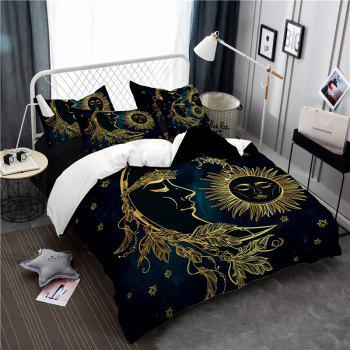 Active Printing and Dyeing Sun Moon Series Bedding Set Three and Four Pieces AS25 - BLACK GOLD DOUBLE