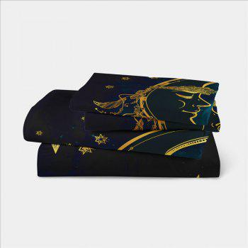 Active Printing and Dyeing Sun Moon Series Bedding Set Three and Four Pieces AS25 - BLACK GOLD EURO KING