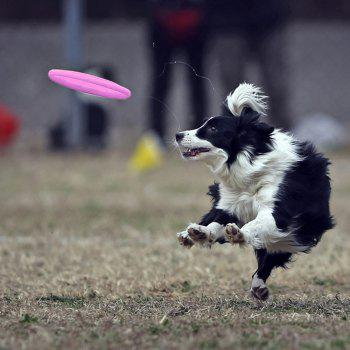 Tooth Resistant Silicone Pet Dog Frisbee Flying Disc Outdoor Large Dog Training Fetch Toy - PINK