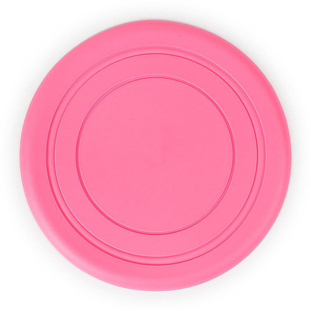 Silicone résistant aux dents Pet Chien Frisbee disque de vol en plein air grand chien formation Fetch Toy - ROSE PÂLE