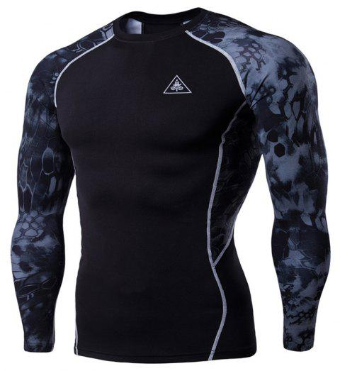 Men's Digital Printing Long-Sleeved Fitness Python Speed Dry T-Shirt - BLACK L