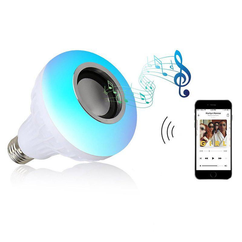 E27 LED Light Smart Wireless Bluetooth Stereo Speaker Bulb Music Lamp Remote Control Light RGBW - WHITE