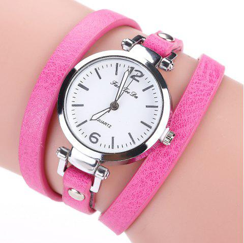 Fanteeda FD076 Women Fashion Leather Band Wrapping Quartz Watch - ROSE RED