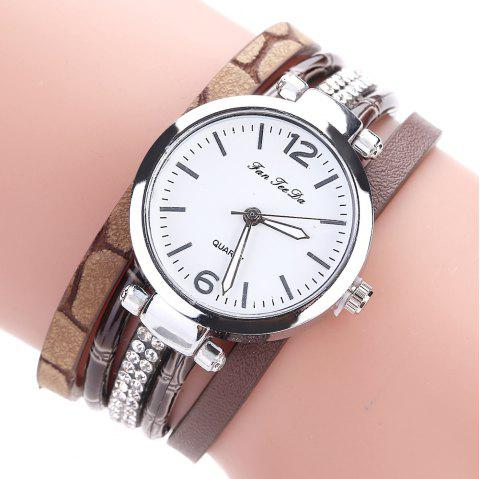 Fanteeda FD081 Women Leather Band Magnetic Buckle Bangle Watch - BROWN