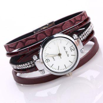 Fanteeda FD081 Women Leather Band Magnetic Buckle Bangle Watch - DARK RED