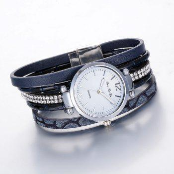 Fanteeda FD081 Women Leather Band Magnetic Buckle Bangle Watch - BLUE